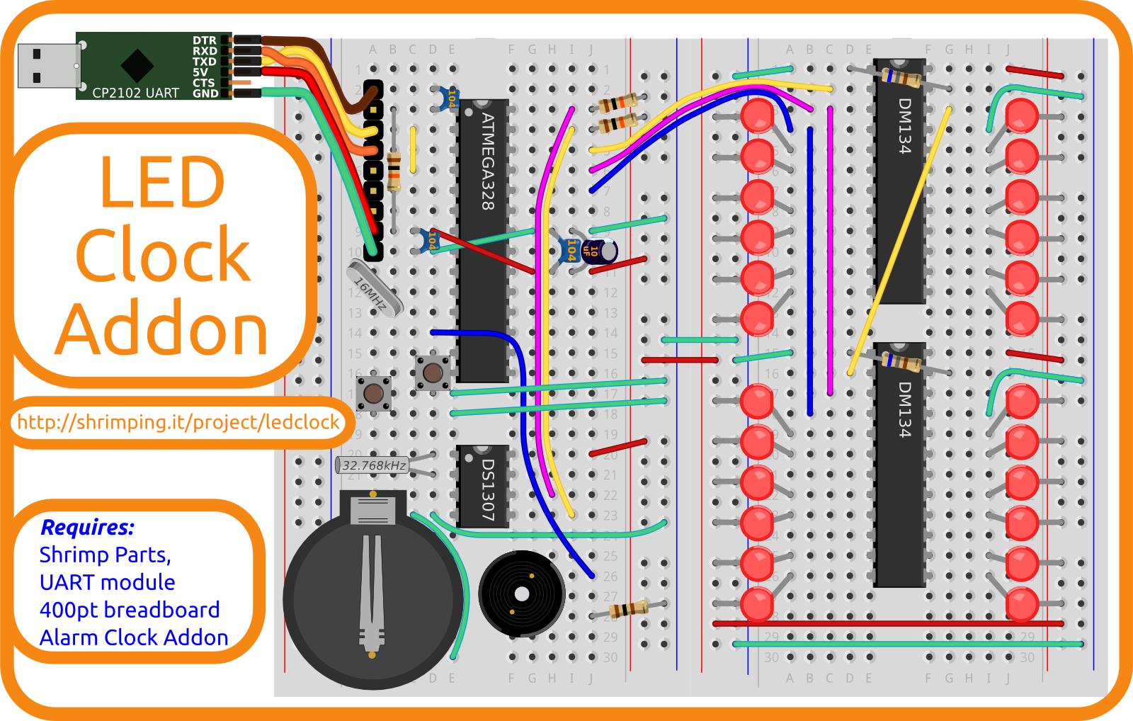 Build diagram for LED Clock