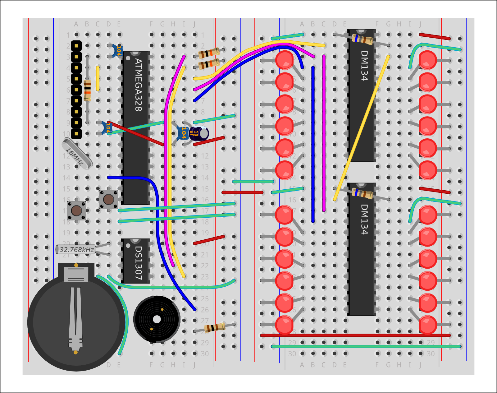 Building The Led Clock Driver Wiring Instructions This Guide Provides Details For Learners To Wire Program And Configure Their First Shrimpingit Digital Project It Incorporates Two Chips